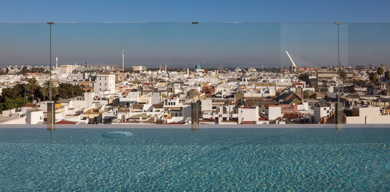 gran melia colon, view from rooftop pool