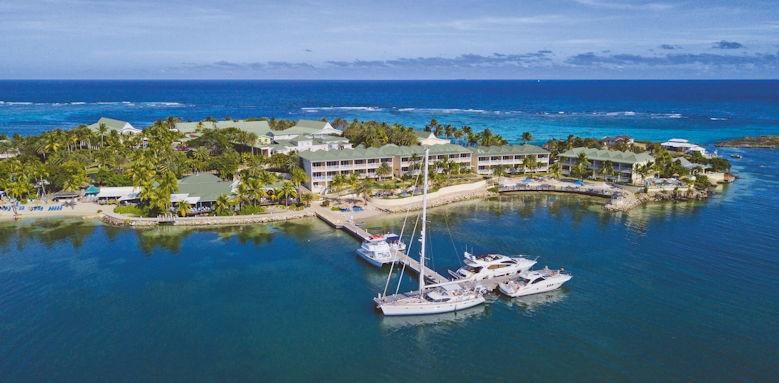 St James Club & Villas, close aerial view
