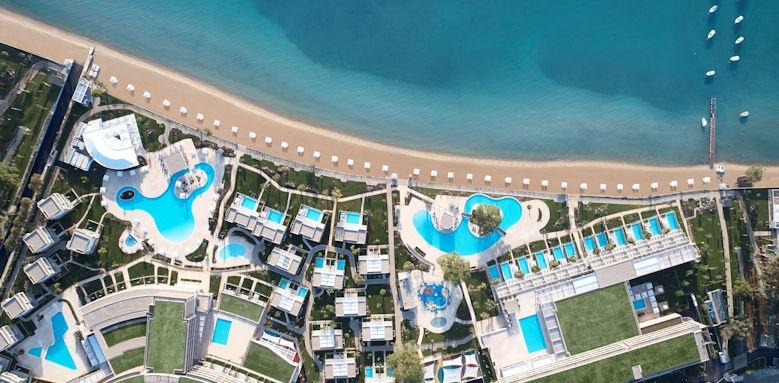 ikos dassia, aerial view