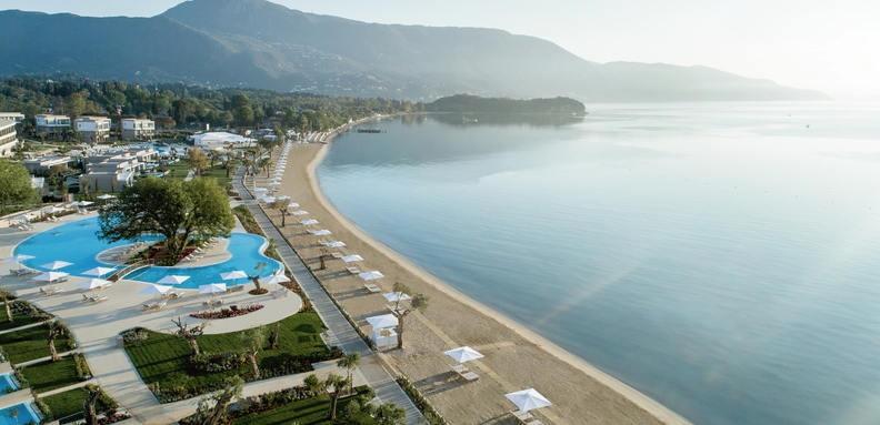 Ikos Dasssia, aerial beach