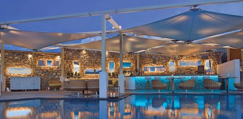 Myconian Korali, pool at night