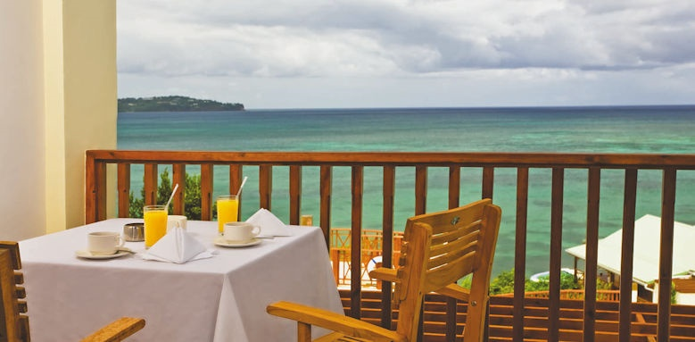 Calabash cove resort and spa, dining on balcony