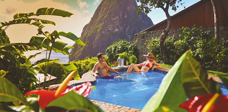 Ladera resort, couple in pool