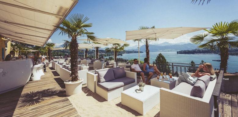 Art Deco Hotel Montana, restaurant terrace