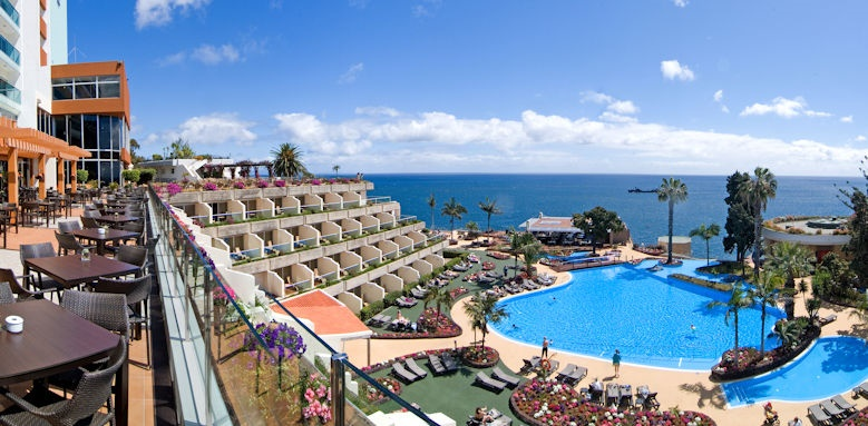 pestana carlton madeira, view over pool from terrace