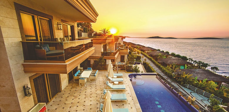 The Bodrum, pool at sunset