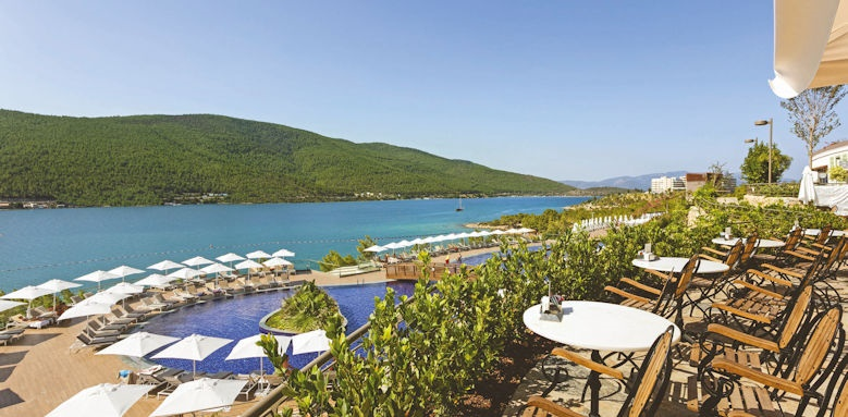 Titanic deluxe bodrum, cafe & pool view