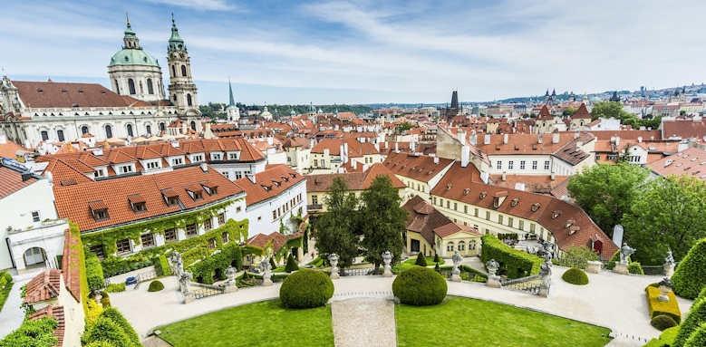 Prague Hotel Aria, garden and city view