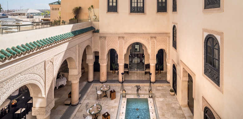 Riad Fes, view of hotel and pool