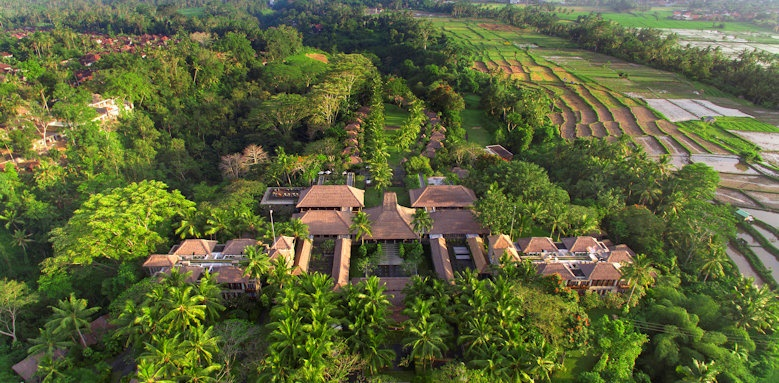 Maya Ubud, aerial view of hotel