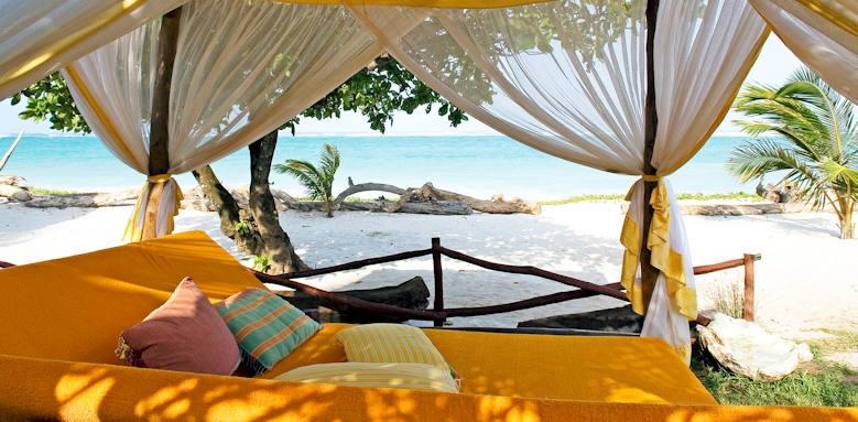 Afrochic Diani, swahili bed on beach