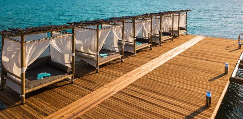 Le Meridien Bodrum Beach Resort, jetty with cabanas