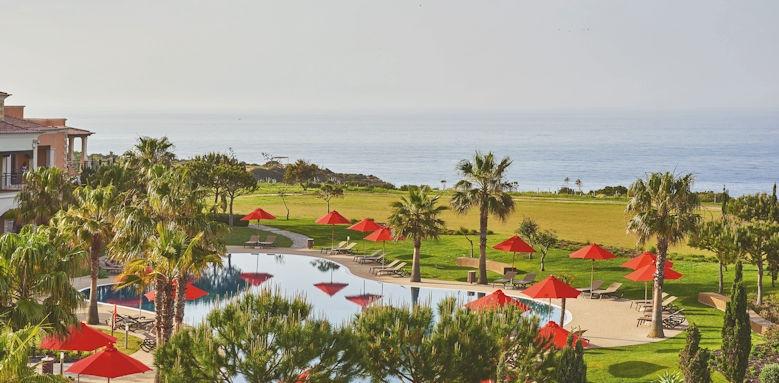 cascades wellness resort, pool and garden overview