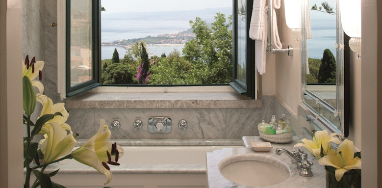 belmond grand hotel timeo, bathroom with a view