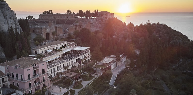 belmond grand hotel timeo, sunset aerial view