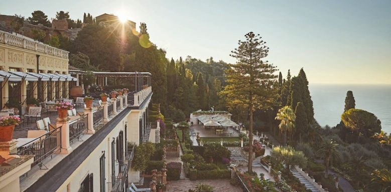 belmond grand hotel timeo, terrace at sunset