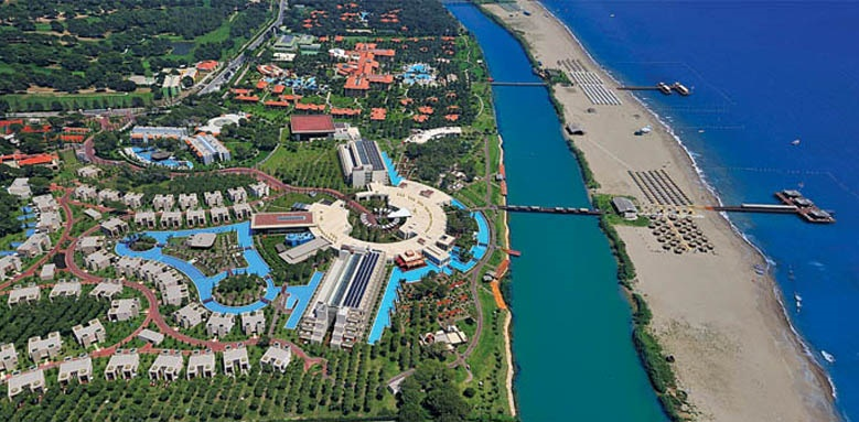 Gloria Serenity Resort, aerial view and sea