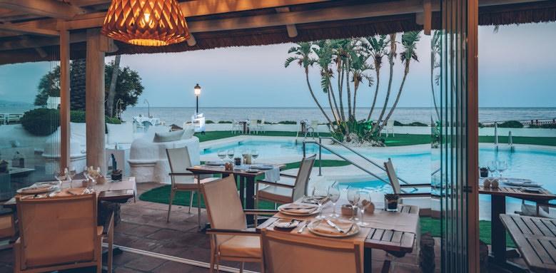 iberostar marbella coral beach, restaurant overlooking the pool