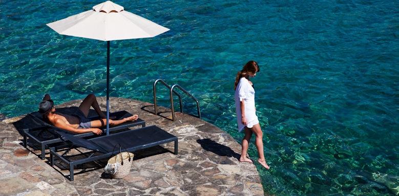minos beach, private jetty