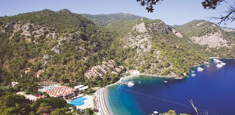 Turkey, hillside beach club, aerial view