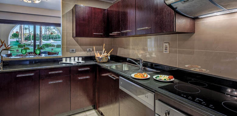 Cleopatra Luxury Resort, family suite kitchen