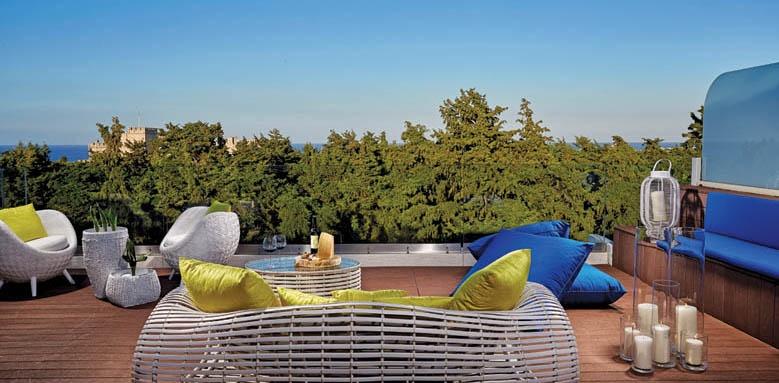 rodos park suites, roof lounge bar