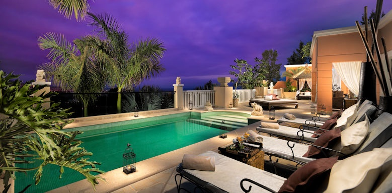 Royal Garden Villas, pool by night