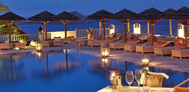 Myconian Ambassador Hotel & Thalasso Centre, pool at night