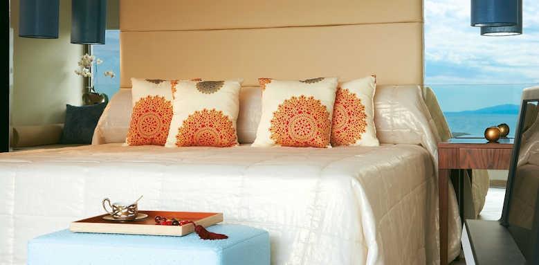 Grecotel Amirandes, Beach villa sea view master bedroom and bathroom