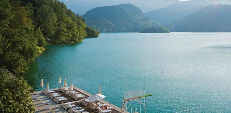 Grand Hotel Toplice, aerial lake view