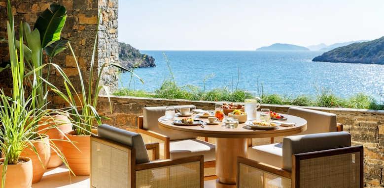 Daios Cove Luxury Resort & Villas, ocean restaurant terrace