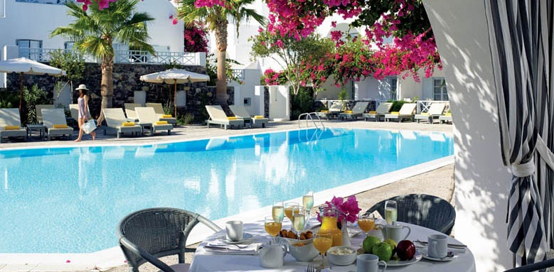 Santorini Kastelli Resort, poolside breakfast