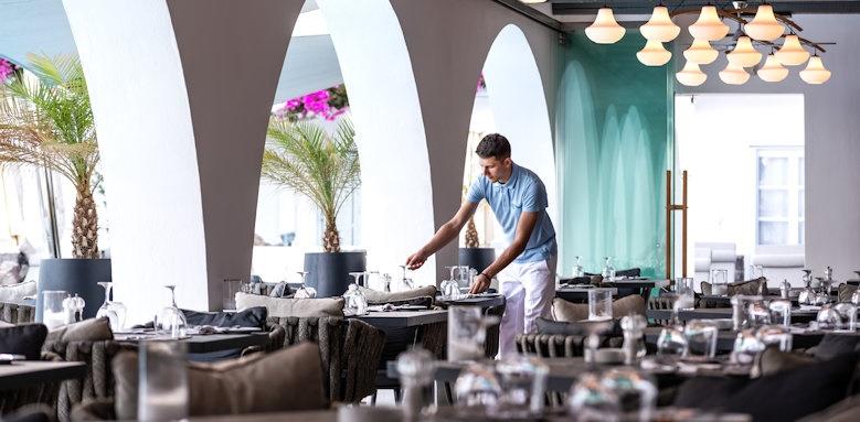 Santorini Kastelli Resort, restaurant terrace area