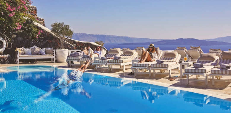 canaves oia suites, poolside loungers