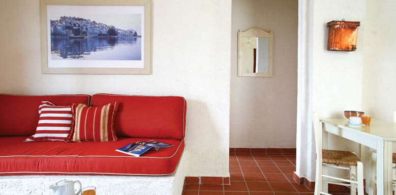Skopelos Village Suite Hotel, room living area