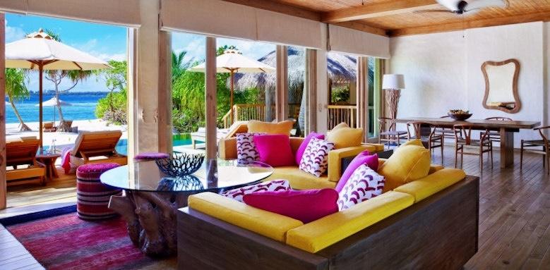 Six Senses Laamu, ocean beach villa with pool