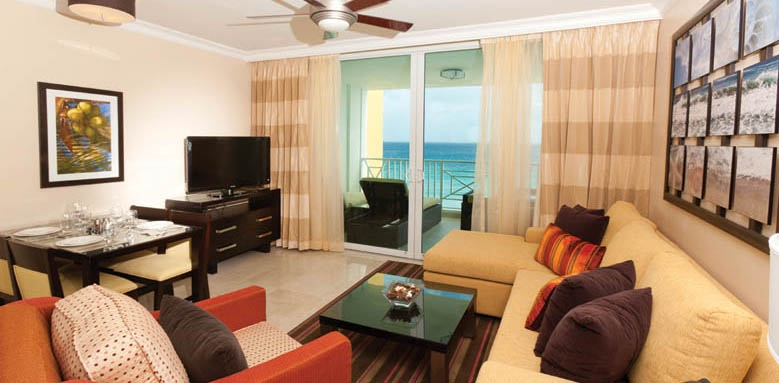 Ocean Two Resort and Residences, one bedroom suite living area
