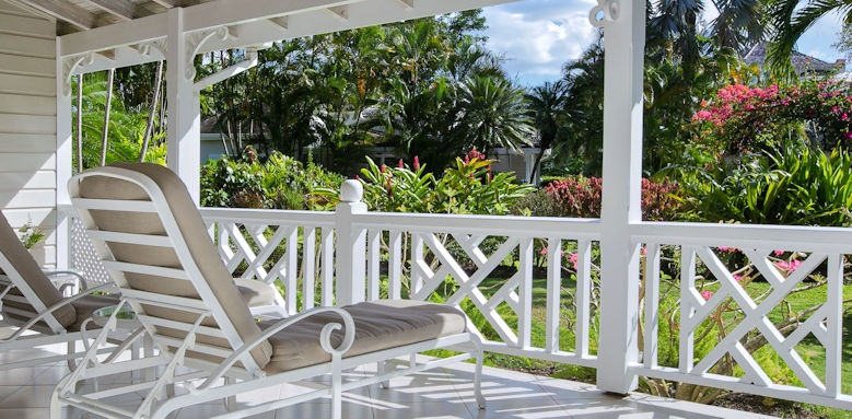 Coral Reef Club, luxury cottage balcony