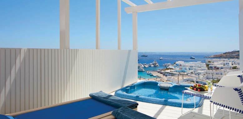Myconian Ambassador Hotel & Thalasso Centre, True Blue room with jacuzzi
