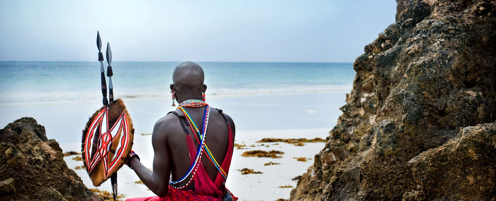 maasai on mombasa beach