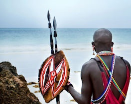 maasai on mombasa beach