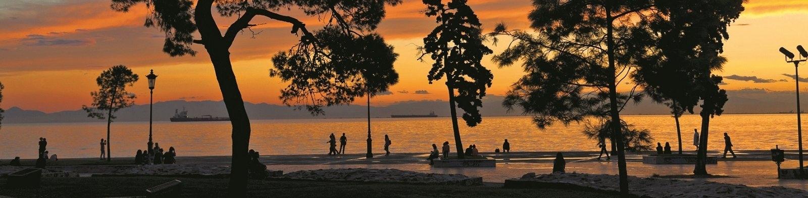 Thessaloniki waterfront at sunset
